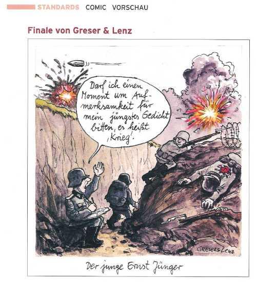 Jünger-Karikatur im Börsenblatt des Deutschen Buchhandels; Scan von T.Wimbauer