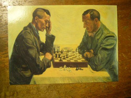 EJ und Friedrich Georg Jünger beim Schachspiel, 1935 (Photo der Postkarte auf Schreibtisch (c) TW