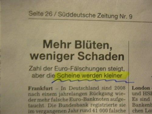 Süddeutsche Zeitung, 9. Januar 2009 über Schrumpfgeld