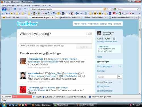 Screenshot eingeloggt Bechinger