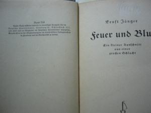 Jünger Feuer und Blut Sammlung Tobias Wimbauer