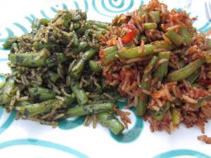 zweierlei Reis mit Bohnen: mit Kräutern/Knoblauch und mexikanisch scharf