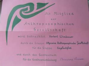 Papas Mitgliedskarte der Anthroposophischen Gesellschaft, Dornach